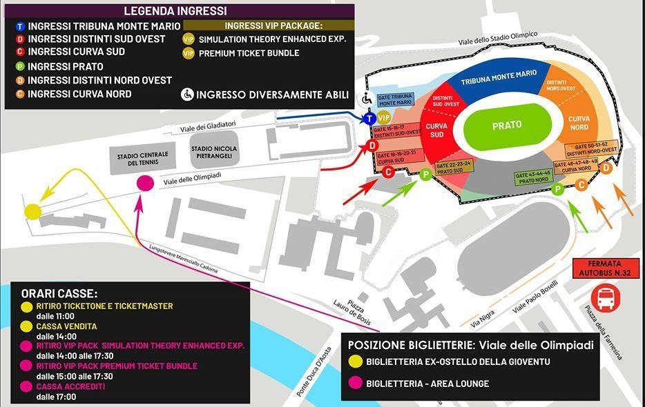 Cartina Stadio Olimpico Roma.We Music I Muse A Roma Ecco Scaletta Orari Ingressi E Tutte Le Info Utili In Eventi Live